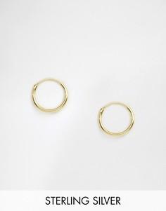 Серьги-кольца диаметром 12 мм из позолоченного серебра ASOS DESIGN - Золотой