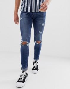 Синие выбеленные джинсы скинни с напылением и рваной отделкой Jack & Jones Intelligence - Черный
