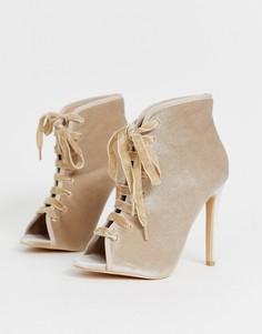 Ботильоны на каблуке и шнуровке Glamorous - Золотой