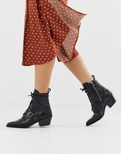 Ботинки на каблуке со шнуровкой и пряжками - Черный All Saints