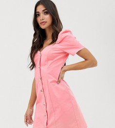 Эксклюзивное розовое платье мини с вырезом сердечком и пышными рукавами Missguided Petite - Розовый