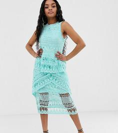 Эксклюзивное кружевное платье миди голубого цвета Missguided Petite - Синий