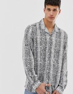 Рубашка со змеиным узором и длинным рукавом Brave Soul - Серый