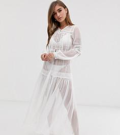 Пляжное платье макси с кружевными вставками Y.A.S Petite - Белый
