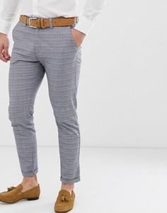 Серые зауженные брюки в клетку Jack & Jones Premium - Серый