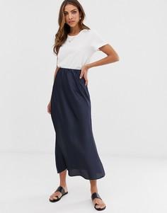 Атласная юбка миди ASOS DESIGN - Темно-синий