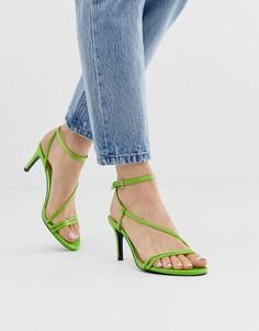 Зеленые босоножки с тонкими ремешками Stradivarius - Зеленый
