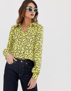 Атласная рубашка с цветочным принтом Lost Ink - Желтый