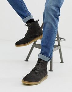 Серые замшевые ботинки-броги с натуральной подошвой ASOS DESIGN - Серый