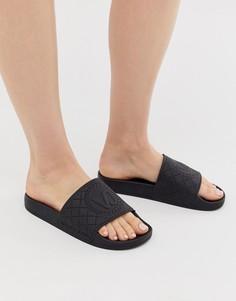 Стеганые шлепанцы с заклепками Versace Jeans - Черный