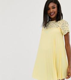 Свободное платье мини с кружевом и плиссировкой ASOS DESIGN Maternity - Черный