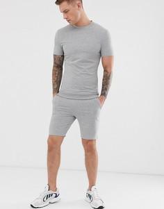 Серый меланжевый обтягивающий спортивный костюм с футболкой ASOS DESIGN - Серый
