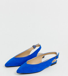 Синие туфли на плоской подошве с острым носом Simply Be extra wide fit Lana - Синий