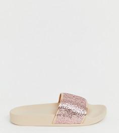 Розовые блестящие шлепанцы Simply Be extra wide fit - Розовый