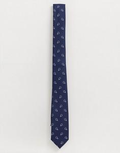 Темно-синий узкий галстук с ромбовидным геометрическим принтом ASOS DESIGN - Темно-синий