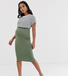 Трикотажная юбка-карандаш ASOS DESIGN Maternity - Зеленый