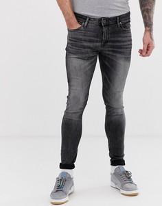 Черные выбеленные облегающие джинсы с напылением Jack & Jones - Черный