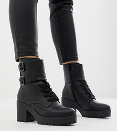 Черные ботинки на массивном каблуке с пряжками New Look - Черный