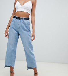 Синие укороченные джинсы бойфренда с асимметричными краями Missguided - Синий