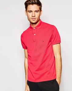 Поло узкого кроя с логотипом-флажком Tommy Hilfiger - Красный