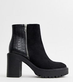 Черные ботильоны на массивном каблуке New Look - Черный
