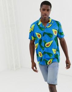Рубашка с принтом авокадо и воротником в виде лацканов Brave Soul - Белый