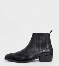Черные кожаные ботинки челси на кубинском каблуке в стиле вестерн ASOS DESIGN - Черный