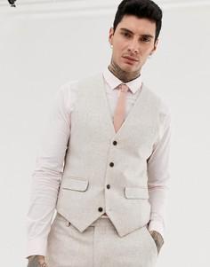 Узкий твидовый жилет с добавлением шерсти Harry Brown wedding - Кремовый