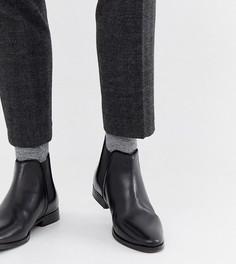 Черные кожаные ботинки челси для широкой стопы с однотонной подошвой ASOS DESIGN - Черный