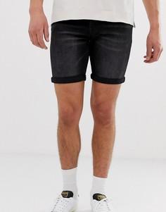 Выбеленные черные джинсовые шорты из органического хлопка Selected Homme - Черный