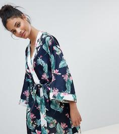 Халат с тропическим лиственным принтом New Look - Кремовый