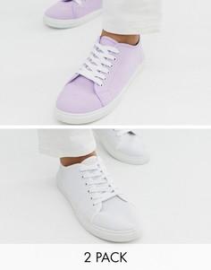 Две пары кед на шнуровке сиреневого и белого цвета Truffle Collection - Мульти