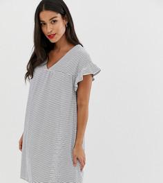 Свободное платье из растягивающегося в 2 направлениях меланжевого хлопка в полоску ASOS DESIGN Maternity - Мульти