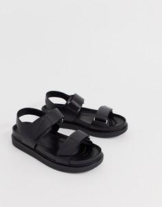 Черные кожаные сандалии в спортивном стиле Vagabond Еrin - Черный