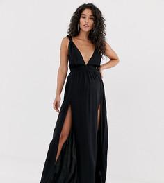 Черное пляжное платье макси с рюшами на бретелях и глубоким вырезом ASOS DESIGN Maternity - Черный
