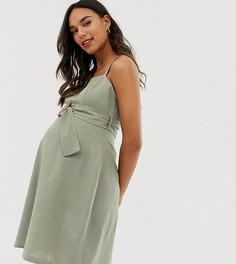 Сарафан миди с квадратным вырезом и пряжкой ASOS DESIGN Maternity - Зеленый