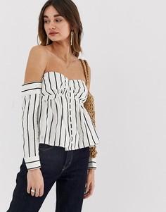 Блузка в полоску со спущенными плечами Lost Ink - Мульти