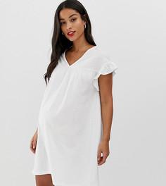 Двустороннее хлопковое меланжевое свободное платье мини ASOS DESIGN Maternity - Белый