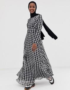 Платье макси в клетку на пуговицах из ткани сирсакер ASOS DESIGN - Мульти