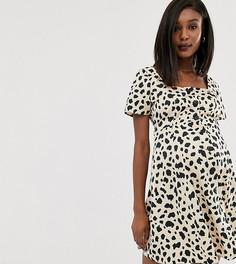 Короткое приталенное платье на пуговицах с леопардовым принтом ASOS DESIGN Maternity - Мульти