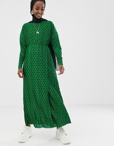 Зеленое плиссированное платье макси в горошек ASOS DESIGN - Мульти