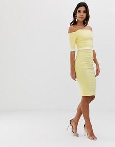 Платье-футляр с широким вырезом, короткими рукавами и контрастным поясом Vesper - Желтый