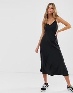 Черное платье-комбинация миди New Look - Черный