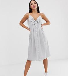 Платье миди в синюю полоску с завязкой и пуговицами Missguided Tall - Мульти