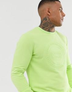 Свитшот лаймового цвета с тисненой фирменной надписью Bershka - Зеленый
