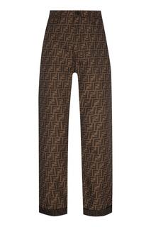 Бежевые брюки с монограммами FF Fendi