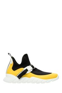 Черно-бело-желтые сникеры Fendi