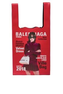 Кожаная сумка с принтом Winter 18 Campaign Supermarket Balenciaga Man