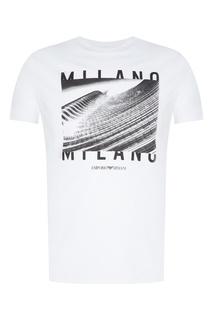 Белая футболка с принтом Emporio Armani
