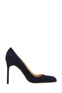 Темно-синие замшевые туфли BBR Manolo Blahnik